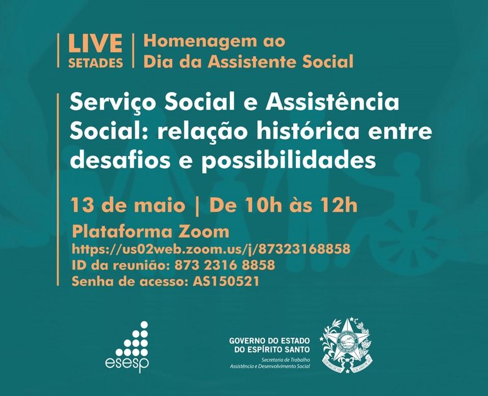 Setades promove live em comemoração ao Dia do Assistente Social