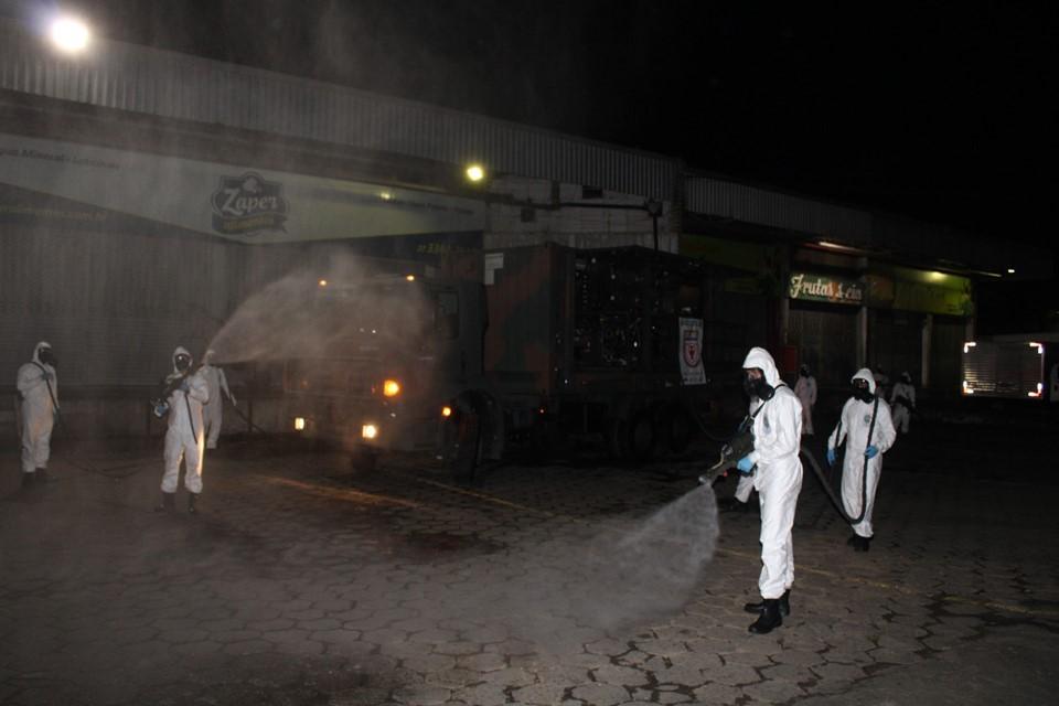 Exército realiza ação de desinfecção na Ceasa