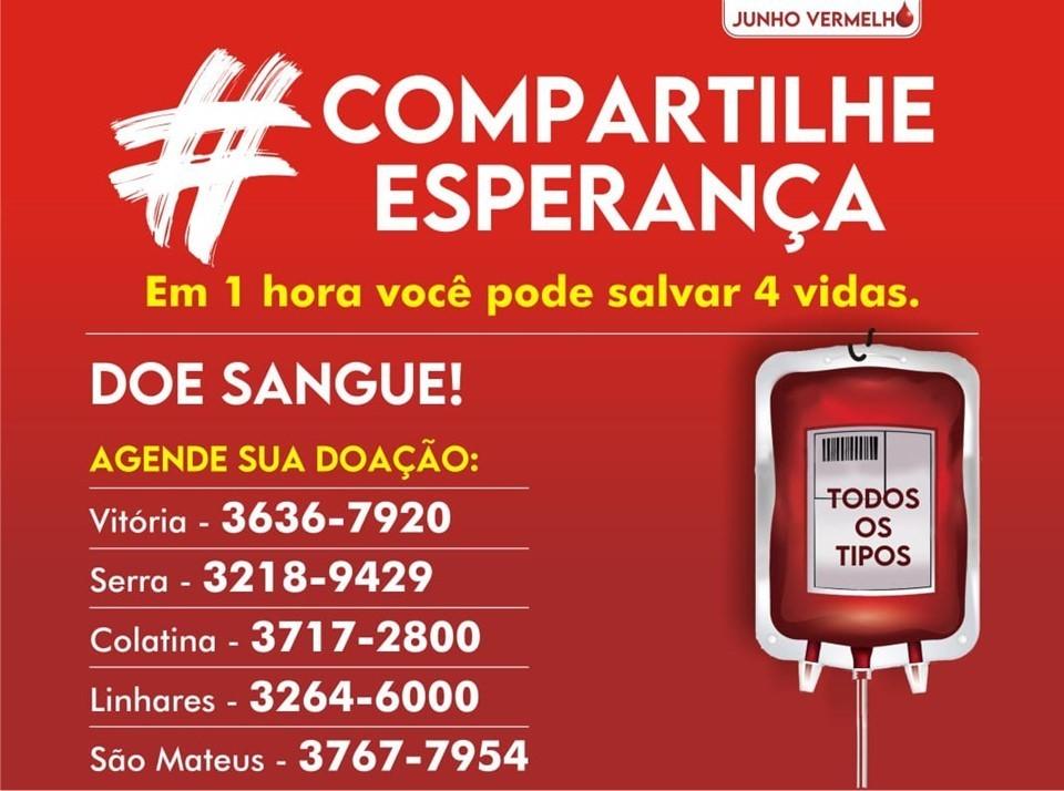 Hemocentros de Vitória e Serra precisam de doações de sangue