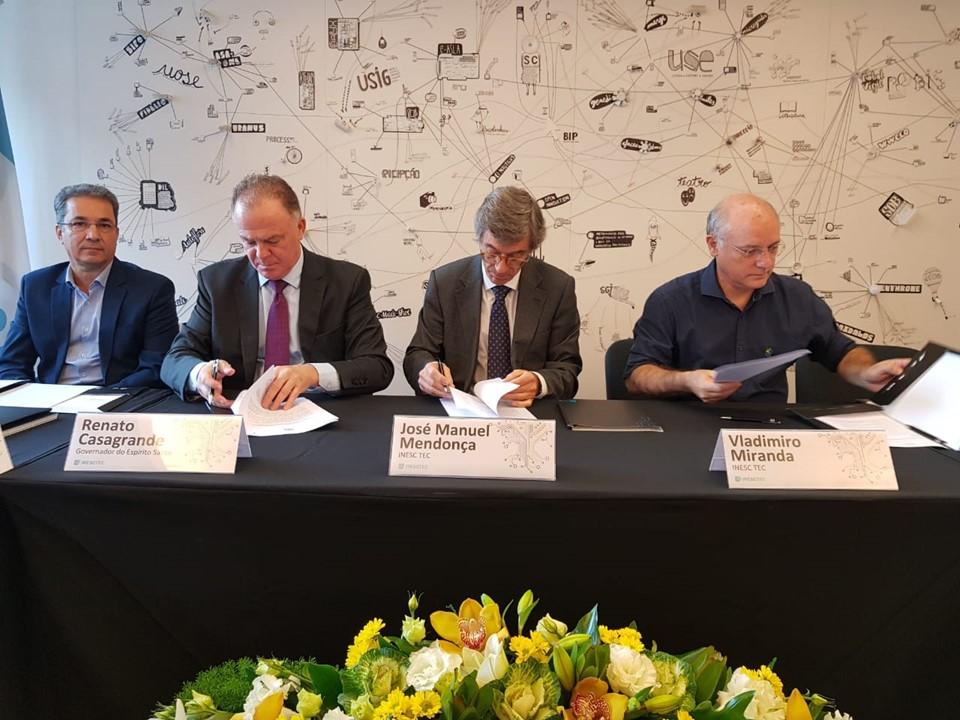 Espírito Santo assina acordo de cooperação com INESC TEC e INESC P&D Brasil, em Portugal