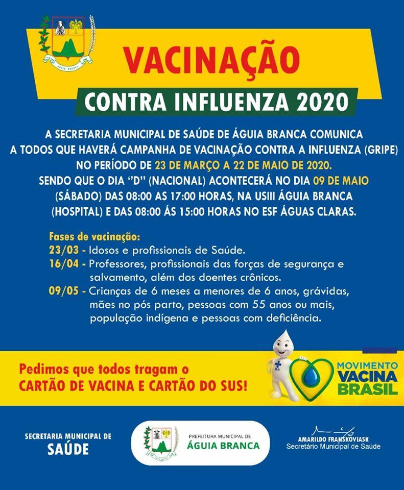 Águia Branca anuncia antecipação de vacina contra a gripe
